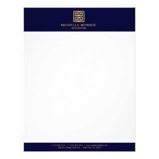 Elegant Gold Greek Key Interior Designer Dark Blue Letterhead at Zazzle