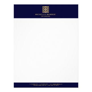 Elegant Gold Greek Key Interior Designer Dark Blue Letterhead