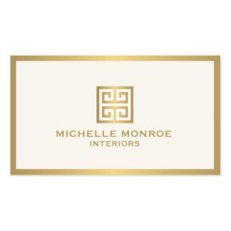 Elegant Gold Greek Key Interior Designer Ivory Business Card