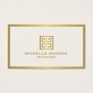 Elegant Gold Greek Key Interior Designer Ivory Business Card