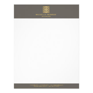 Elegant Gold Greek Key Interior Designer Taupe Letterhead