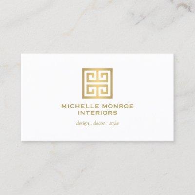 Elegant gold greek key on mint interior designer business card elegant gold greek key on mint interior designer business card zazzle reheart Choice Image