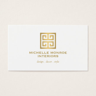 Elegant Gold Greek Key Interior Designer White Business Card