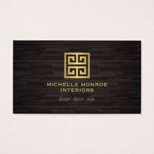 Elegant gold greek key interior designer woodgrain business card for Interior designers business cards
