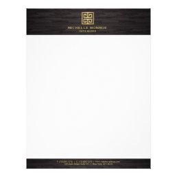 Elegant Gold Greek Key Interior Designer Woodgrain Letterhead