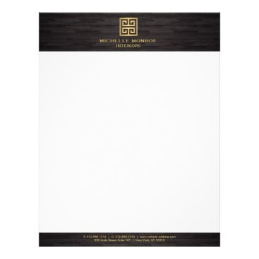 Elegant Gold Greek Key Interior Designer Woodgrain Letterhead