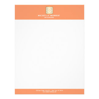 Elegant Gold Greek Key on Coral Interior Designer Letterhead