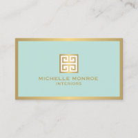 Elegant Gold Greek Key on Mint Interior Designer Business Card