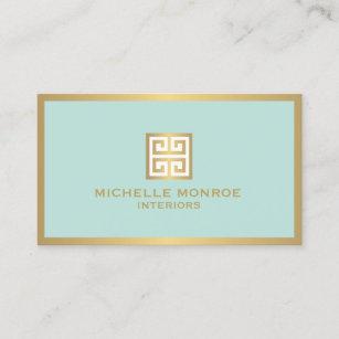 Interior design business cards templates zazzle elegant gold greek key on mint interior designer business card colourmoves
