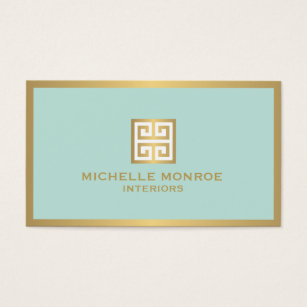 Wonderful Elegant Gold Greek Key On Mint Interior Designer Business Card