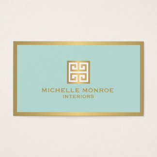 Beau Elegant Gold Greek Key On Mint Interior Designer Business Card