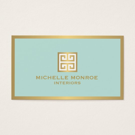 Elegant gold greek key on mint interior designer business card zazzle for Interior designers business cards