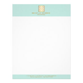 Elegant Gold Greek Key On Mint Interior Designer Letterhead at Zazzle