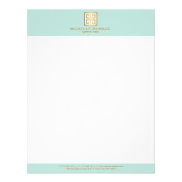 Elegant Gold Greek Key on Mint Interior Designer Letterhead