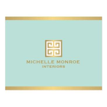 Elegant Gold Greek Key on Mint Postcard