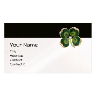 ELEGANT GOLD GREEN SHAMROCK JEWEL WITH PEARLS BUSINESS CARD
