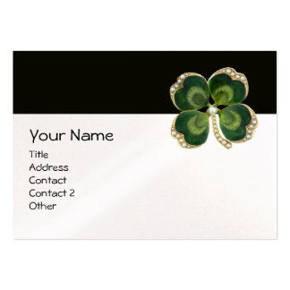 ELEGANT GOLD GREEN SHAMROCK JEWEL WITH PEARLS LARGE BUSINESS CARD