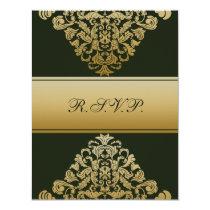 elegant gold green wedding RSVP Card