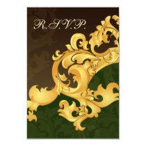 elegant gold green wedding RSVP Standard 3.5 x 5 Card