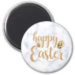 Elegant Gold Happy Easter with floral eggs Magnet
