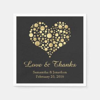 Elegant Gold Heart Custom Wedding Napkins