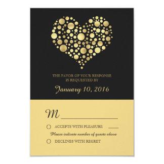Elegant Gold Heart Dusty Black Wedding RSVP Card