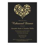 Elegant Gold Heart on Dusty Black Rehearsal Dinner Card