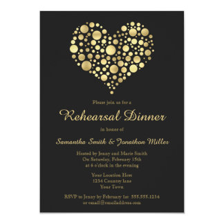 Elegant Gold Heart on Dusty Black Rehearsal Dinner Card