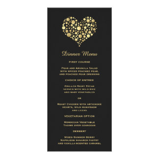 Elegant Gold Heart on Dusty Black Slim Dinner Menu