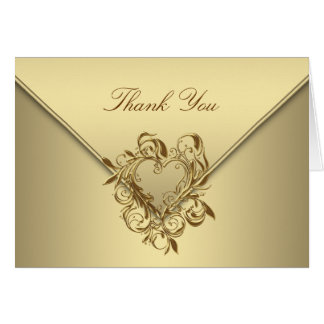Elegant Gold Heart Thank You Cards