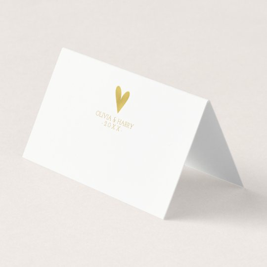 elegant gold heart wedding folded place cards - Folded Place Cards
