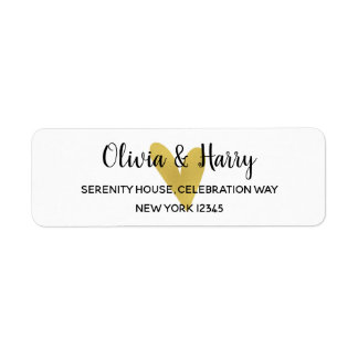 Elegant Gold Heart Wedding Return Address Labels