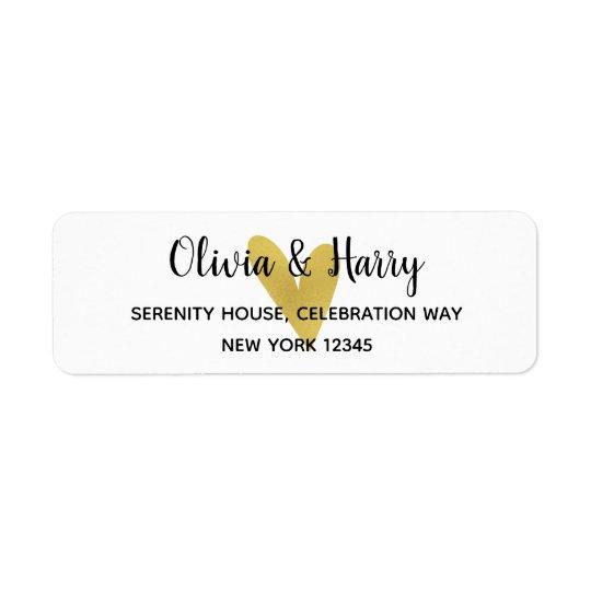 elegant gold heart wedding return address labels zazzle com