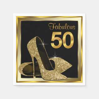 Elegant Gold High Heel 50th Birthday Party Paper Napkin at Zazzle