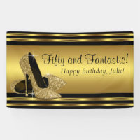 Elegant Gold High Heel Birthday Party Banner