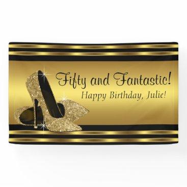 birthday Elegant Gold High Heel Birthday Party Banner