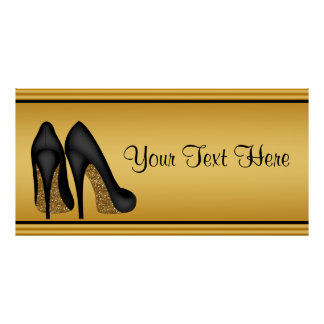 Elegant Gold High Heel Birthday Party Banner Poster