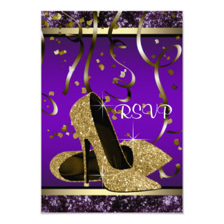 Elegant Gold High Heel Purple and Gold RSVP 3.5x5 Paper Invitation Card