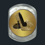 "Elegant Gold High Heel Shoe Candy Jar<br><div class=""desc"">Elegant gold glitter high heel shoes birthday party mint and candy jar. This beautiful gold high heel shoe party and event candy and mint tin is easily customized for your event by choosing the size,  shape,  quantity and candy flavor!</div>"
