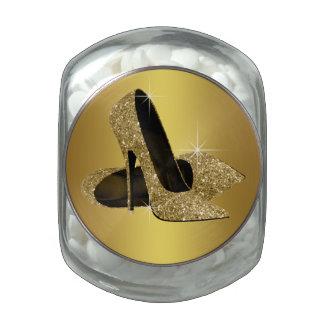 Elegant Gold High Heel Shoe Candy Jar Jelly Belly Candy Jar