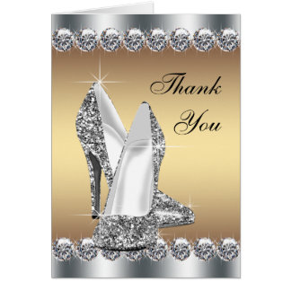 Elegant Gold High Heel Shoe Thank You Cards