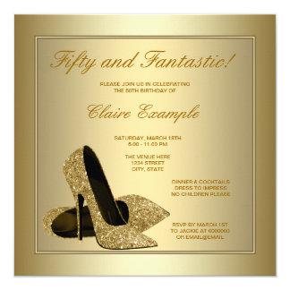 Elegant Gold High Heels Womans Gold 50th Birthday Invitation