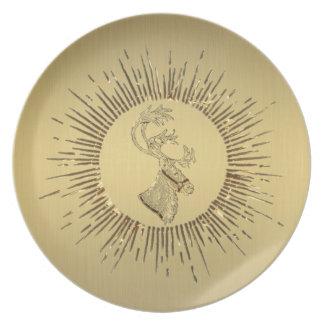 Elegant gold holiday Christmas reindeer winter Plate