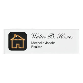 Elegant Gold House Symbol Name Tag