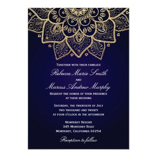 Elegant gold indian invitation zazzle for Wedding invitation wording south indian style