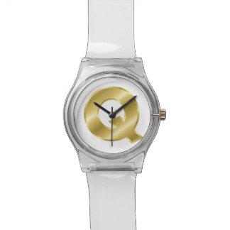 Elegant Gold Initial watch, Initial Q Wristwatch