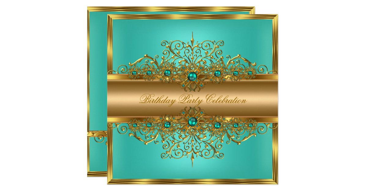 Elegant Gold Jade Teal Pearls Birthday Party Invitation
