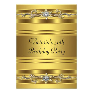 Elegant Gold Jewel Womans Gold 50th Birthday Personalized Invites