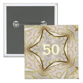 Elegant Gold Kaleidoscope Star 2 Inch Square Button