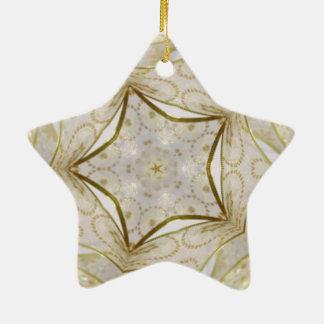 Elegant Gold Kaleidoscope Star Ceramic Ornament
